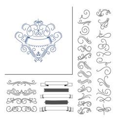 set hand drawn flourish elements vector image