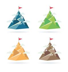 set of flag on the mountain peak vector image