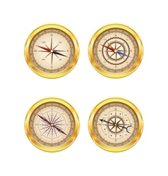 Set of golden compasses vector