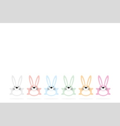 Set of six colorful easter bunnies vector