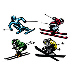 Skiing athletes in set vector