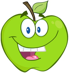 Smiling Green Apple Cartoon Character vector image