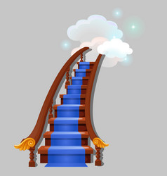 Stair with blue carpet leading into the clouds vector