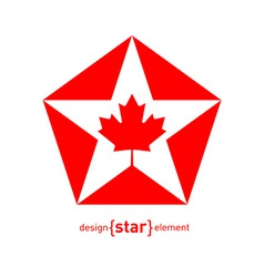 Star with Canadian maple Leaf on white background vector image