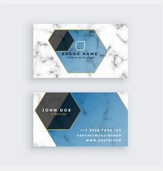 Stylish geometric marble business card design vector