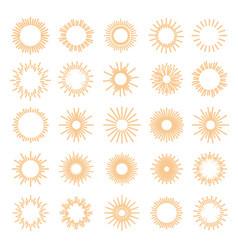 sunburst set gold style vector image