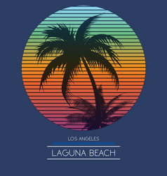 sunset at tropical beach los angeles california vector image