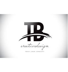 Tb t b letter logo design with swoosh and black vector