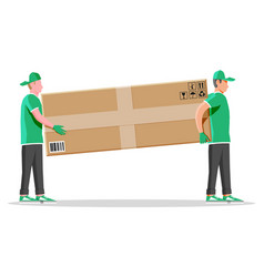 two workers mover man carrying cardboard box vector image