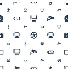 video icons pattern seamless white background vector image