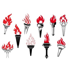 Vintage torches with burning flames vector