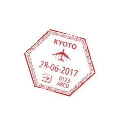 visa stamp isolated arrived kyoto airport plane vector image