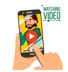 Watching video on smartphone video player vector