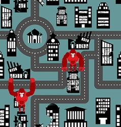 Wild angry gorilla destroyed city seamless pattern vector