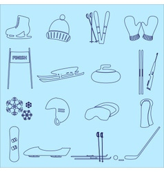 winter sports and equipment outline icons eps10 vector image