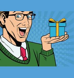 businessman pop art cartoon vector image vector image