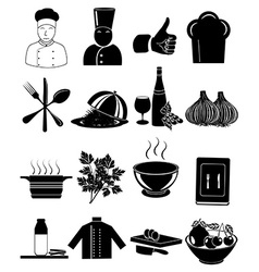 Chef restaurant icons set vector image