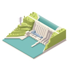 Isometric hydroelectric power station vector image vector image