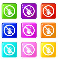 no bug sign icons 9 set vector image vector image