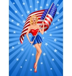 Pin-up blond patriotic woman vector image