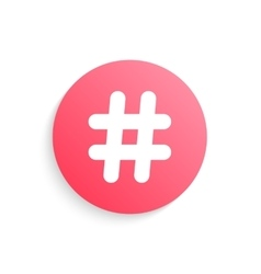red hashtag button with shadow vector image vector image