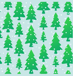 seamless pattern with green trees and snowflakes vector image vector image