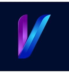 V letter volume blue and purple color logo design vector image