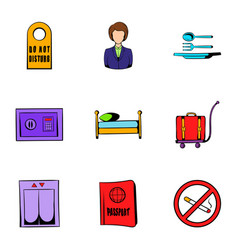 vacation icons set cartoon style vector image