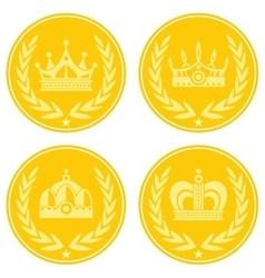 Yellow coin icons with crown on white background vector image vector image