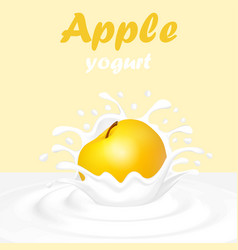 a splash of yogurt from a falling apple and a drop vector image vector image