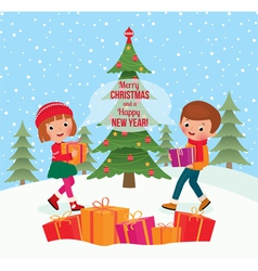 Children give Christmas gifts vector image vector image