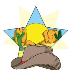 cowboy hat on star frame vector image