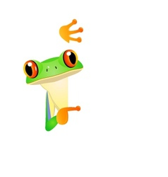 frog cartoon with blank sign vector image vector image