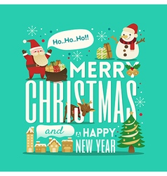 Greeting Christmas and New Year cute typography vector image vector image
