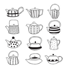 hand drawn teapots vector image