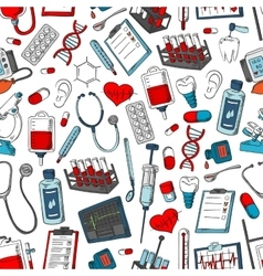 Medical seamless pattern of medicine items vector image