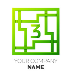 Number three logo symbol in colorful square maze vector