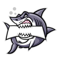 shark bite a blank sign vector image vector image