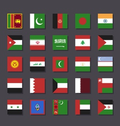 Asia Middle East flag icon set Metro style vector image vector image