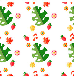 summer tropical pattern with fruits and leaves vector image vector image