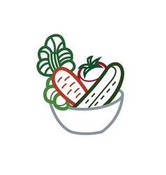 vegetable salad in a bowl vector image vector image