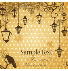 Vintage background with tree branches and retro vector