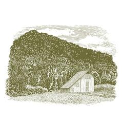 Woodcut Idaho Barn vector image