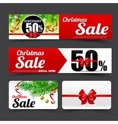 019 Collection of merry christmas sale tag banner vector image vector image