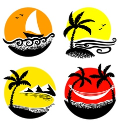 beach icons vector image vector image