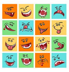 colorful emoticon faces cute vector image