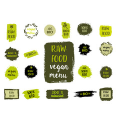 healthy food labels hand drawn logo templates vector image