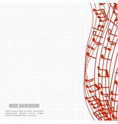 notebook music background with red music notes and vector image
