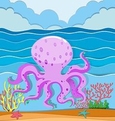 Octopus in the ocean vector