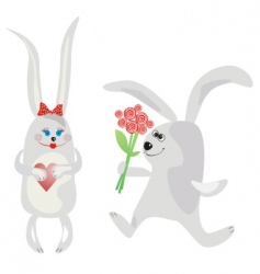 rabbits and love vector image vector image